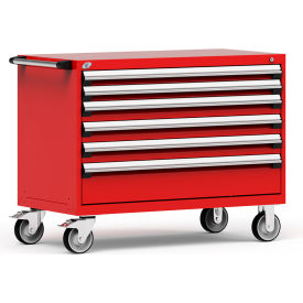 "Rousseau Metal 6 Drawer Heavy-Duty Mobile Modular Drawer Cabinet - 48""Wx24""Dx37-1/2""H Red"