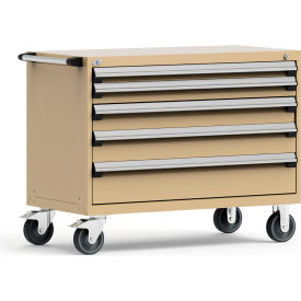 """Rousseau Metal 5 Drawer Heavy-Duty Mobile Modular Drawer Cabinet - 48""""Wx24""""Dx37-1/2""""H Beige"""