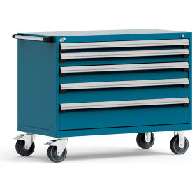 """Rousseau Metal 5 Drawer Heavy-Duty Mobile Modular Drawer Cabinet - 48""""Wx24""""Dx37-1/2""""H Everest Blue"""