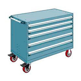 """Rousseau Metal 5 Drawer Heavy-Duty Mobile Modular Drawer Cabinet - 48""""Wx27""""Dx37-1/2""""H Everest Blue"""