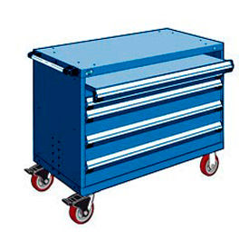 """Rousseau Metal 4 Drawer Heavy-Duty Mobile Modular Drawer Cabinet - 48""""Wx27""""Dx37-1/2""""H Avalanche Blue"""