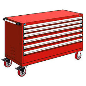 """Rousseau Metal 6 Drawer Heavy-Duty Mobile Modular Drawer Cabinet - 60""""Wx24""""Dx37-1/2""""H Red"""