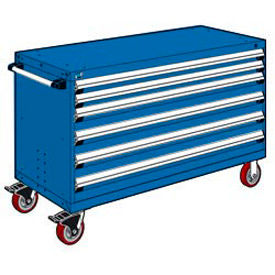 """Rousseau Metal 6 Drawer Heavy-Duty Mobile Modular Drawer Cabinet - 60""""Wx24""""Dx37-1/2""""H Avalanche Blue"""