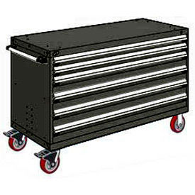 "Rousseau Metal 6 Drawer Heavy-Duty Mobile Modular Drawer Cabinet - 60""Wx24""Dx37-1/2""H Black"