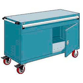 """Rousseau Metal 1 Drawer Heavy-Duty Mobile Modular Drawer Cabinet - 60""""Wx24""""Dx37-1/2""""H Everest Blue"""