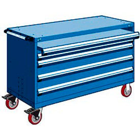 """Rousseau Metal 4 Drawer Heavy-Duty Mobile Modular Drawer Cabinet - 60""""Wx24""""Dx37-1/2""""H Avalanche Blue"""