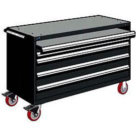 "Rousseau Metal 4 Drawer Heavy-Duty Mobile Modular Drawer Cabinet - 60""Wx24""Dx37-1/2""H Black"
