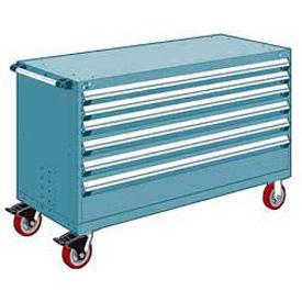 "Rousseau Metal 6 Drawer Heavy-Duty Mobile Modular Drawer Cabinet - 60""Wx27""Dx37-1/2""H Everest Blue"