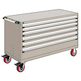 """Rousseau Metal 6 Drawer Heavy-Duty Mobile Modular Drawer Cabinet - 60""""Wx27""""Dx37-1/2""""H Light Gray"""