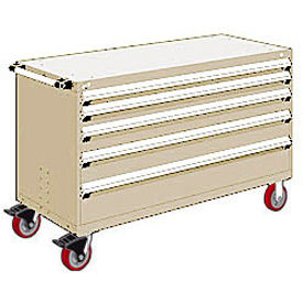 """Rousseau Metal 5 Drawer Heavy-Duty Mobile Modular Drawer Cabinet - 60""""Wx27""""Dx37-1/2""""H Beige"""