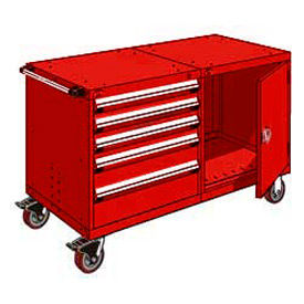 "Rousseau 5 Drawer Heavy-Duty Double Mobile Modular Drawer Cabinet - 48""Wx27""Dx37-1/2""H Red"