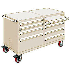 """Rousseau 8 Drawer Heavy-Duty Double Mobile Modular Drawer Cabinet - 48""""Wx27""""Dx37-1/2""""H Beige"""