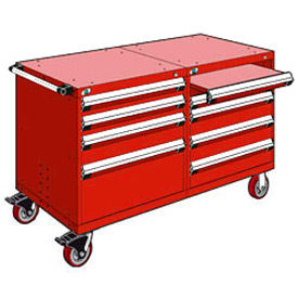 """Rousseau 8 Drawer Heavy-Duty Double Mobile Modular Drawer Cabinet - 48""""Wx27""""Dx37-1/2""""H Red"""
