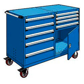 """Rousseau 9 Drawer Heavy-Duty Double Mobile Modular Drawer Cabinet -48""""Wx27""""Dx45-1/2""""H Avalanche Blue"""