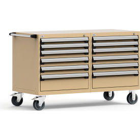 """Rousseau 12 Drawer Heavy-Duty Double Mobile Modular Drawer Cabinet - 60""""Wx27""""Dx37-1/2""""H Beige"""