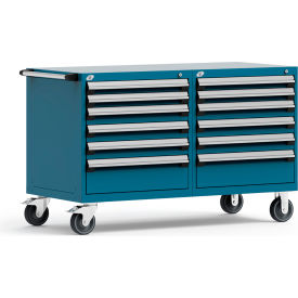 """Rousseau 12 Drawer Heavy-Duty Double Mobile Modular Drawer Cabinet - 60""""Wx27""""Dx37-1/2""""H Everest Blue"""