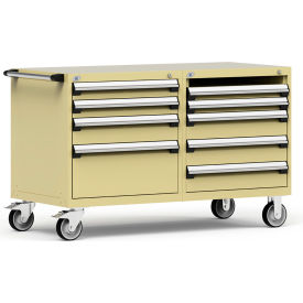 """Rousseau 8 Drawer Heavy-Duty Double Mobile Modular Drawer Cabinet - 60""""Wx27""""Dx37-1/2""""H Beige"""