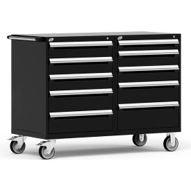 "Rousseau 10 Drawer Heavy-Duty Double Mobile Modular Drawer Cabinet - 60""Wx27""Dx45-1/2""H Black"