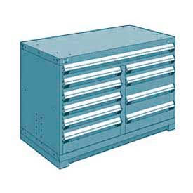"""Rousseau Metal 10 Drawer Bench High 48""""W Multi-Drawer Cabinet - Everest Blue"""