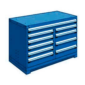 """Rousseau Metal 10 Drawer Bench High 48""""W Multi-Drawer Cabinet - Avalanche Blue"""
