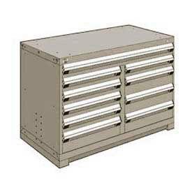 "Rousseau Metal 10 Drawer Bench High 48""W Multi-Drawer Cabinet - Light Gray"