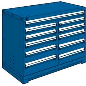 """Rousseau Metal 11 Drawer Counter High 48""""W Multi-Drawer Cabinet - Avalanche Blue"""