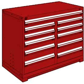 """Rousseau Metal 11 Drawer Counter High 48""""W Multi-Drawer Cabinet - Red"""