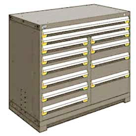 """Rousseau Metal 12 Drawer Counter High 48""""W Multi-Drawer Cabinet - Light Gray"""