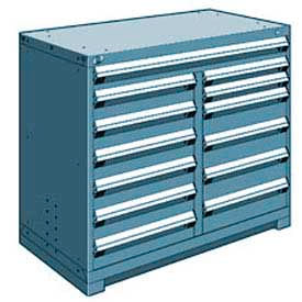 "Rousseau Metal 13 Drawer Counter High 48""W Multi-Drawer Cabinet - Everest Blue"