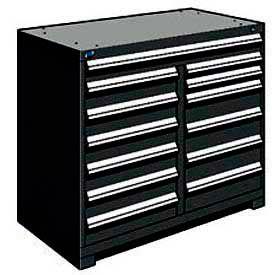"Rousseau Metal 13 Drawer Counter High 48""W Multi-Drawer Cabinet - Black"