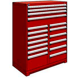 """Rousseau Metal 17 Drawer Full Height 48""""W Multi-Drawer Cabinet - Red"""