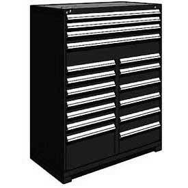 "Rousseau Metal 17 Drawer Full Height 48""W Multi-Drawer Cabinet - Black"