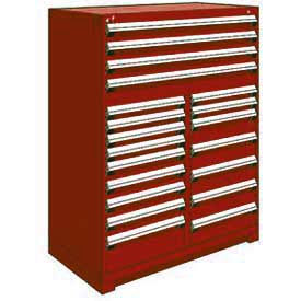 """Rousseau Metal 20 Drawer Full Height 48""""W Multi-Drawer Cabinet - Red"""