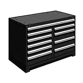 """Rousseau Metal 10 Drawer Bench High 48""""W Multi-Drawer Cabinet - Black"""