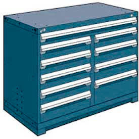 """Rousseau Metal 10 Drawer Counter High 48""""W Multi-Drawer Cabinet - Everest Blue"""