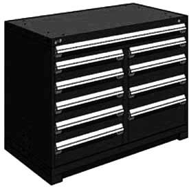 "Rousseau Metal 10 Drawer Counter High 48""W Multi-Drawer Cabinet - Black"