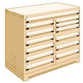 """Rousseau Metal 13 Drawer Counter High 48""""W Multi-Drawer Cabinet - Beige"""