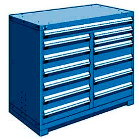 "Rousseau Metal 13 Drawer Counter High 48""W Multi-Drawer Cabinet - Avalanche Blue"