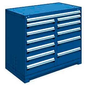 """Rousseau Metal 12 Drawer Counter High 48""""W Multi-Drawer Cabinet - Avalanche Blue"""