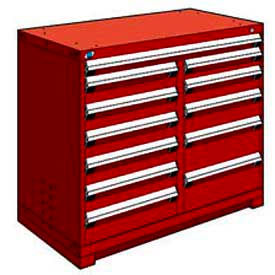 """Rousseau Metal 12 Drawer Counter High 48""""W Multi-Drawer Cabinet - Red"""