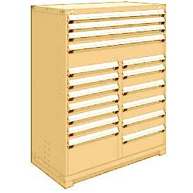 "Rousseau Metal 17 Drawer Full Height 48""W Multi-Drawer Cabinet - Beige"