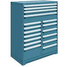 """Rousseau Metal 17 Drawer Full Height 48""""W Multi-Drawer Cabinet - Everest Blue"""
