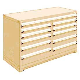 """Rousseau Metal 11 Drawer Counter High 60""""W Multi-Drawer Cabinet - Beige"""