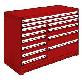 """Rousseau Metal 12 Drawer Counter High 60""""W Multi-Drawer Cabinet - Red"""