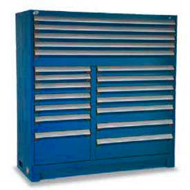 """Rousseau Metal 19 Drawer Full Height 60""""W Multi-Drawer Cabinet - Avalanche Blue"""