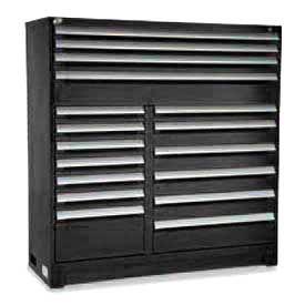 "Rousseau Metal 17 Drawer Full Height 60""W Multi-Drawer Cabinet - Black"