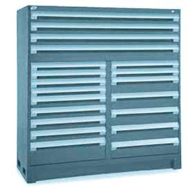 """Rousseau Metal 20 Drawer Full Height 60""""W Multi-Drawer Cabinet - Everest Blue"""