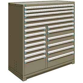 "Rousseau Metal 18 Drawer Full Height 60""W Multi-Drawer Cabinet - Light Gray"