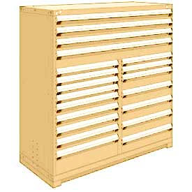 "Rousseau Metal 20 Drawer Full Height 60""W Multi-Drawer Cabinet - Beige"