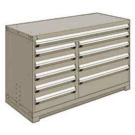 """Rousseau Metal 10 Drawer Counter High 60""""W Multi-Drawer Cabinet - Light Gray"""